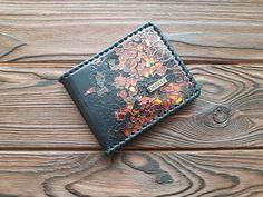 Genuine Leather Unisex Bifold Wallets Black Credit Card Hight Quality Calfskin #MakeyStudio #Bifold