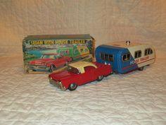 Vintage Tin SSS Shioji Friction Sedan w House Trailer Box Toy Car Japan Nice | eBay