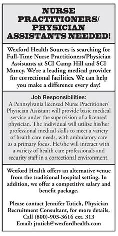 Nurse Practitioners/Physician Assistants Needed! job in Camp Hill & Muncy Pennsylvania | NEWS-Line for Physician Assistants