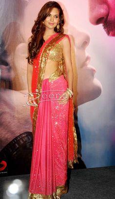 Esha gupta in ravishing Pink and Red Saree