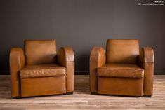 French Club Chairs by William's Antiks | WA26-27 Chocolate Brown Pair of Leather French Club Chairs | 1
