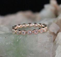Carat Diamond Eternity Bezel Set Milgrain Wedding Band in Rose Gold Gold Diamond Band, Diamond Wedding Rings, Gold Bands, Diamond Jewelry, Wedding Bands, Wedding Venues, Solitaire Diamond, Wedding Programs, Wedding Things