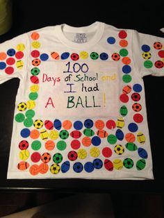 100 day of school T shirt. Foam stickers.