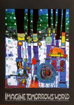 Imagine Tomorrows World (orange) Painting by Hundertwasser. Colorful Paintings, Beautiful Paintings, Friedensreich Hundertwasser, Fine Art Posters, Orange Painting, Inspiration Art, World Of Tomorrow, Blue Art, Art Plastique