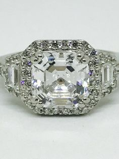 The Colette, Art Deco 3CT Asscher Cut Russian Lab Diamond Halo Engagement Ring