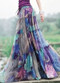 Day Dresses Spring Summer Fall A-line Dress Mid-Calf Pattern Purple Polyester Floral Elegant XXL Skirts Boho Fashion, Fashion Dresses, Fashion Trends, Skirt Outfits, Cool Outfits, Look Boho Chic, Latest Fashion For Women, Womens Fashion, Fashion Online
