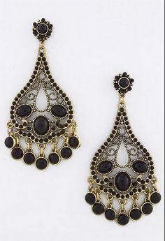 Vintage style black beaded earring....3 inch drop....  17.99