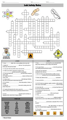 General Safety Rules Crossword Puzzle Answer Key