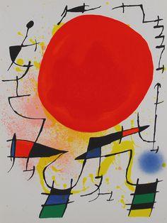 Lithograph I- Plate 3 (Soleil Rouge) - Joan Miro Pablo Picasso, Art Soleil, Painting Prints, Art Prints, Hieronymus Bosch, Red Sun, Spanish Painters, Sun Art, Oeuvre D'art