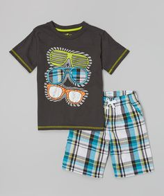 f12e4eff33f Another great find on  zulily! Charcoal Sunglasses Tee  amp  Plaid Shorts -  Infant · Little Boy OutfitsToddler ...