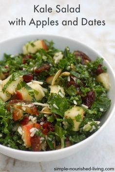 My favorite fall salad, this Kale Salad with Apples and Dates is a delightful combination of flavors and textures that will make your tastebuds happy. 144 calories, 4 #weightwatchers points plus. http://simple-nourished-living.com/2014/11/kale-salad-apples-dates/