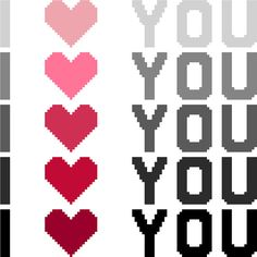I love you. Typographic cross stitch pattern. Modern, minimalist Valentine's Day design by crossstitchtheline