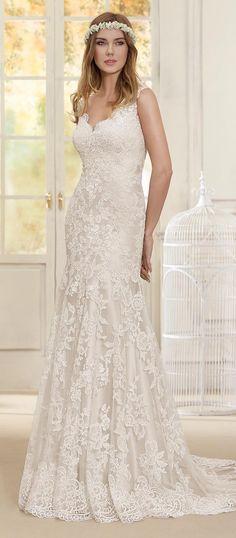 V-neck lace Wedding Dress by Fara Sposa 2017 Bridal Collection