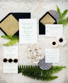 Black white green invitations.