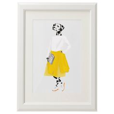 Yellow skirt dalmatian watercolour painting
