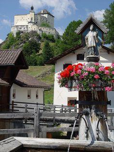 Tarasp Castle in Engadin Valley, Graubünden canton, Switzerland (by susiefos).