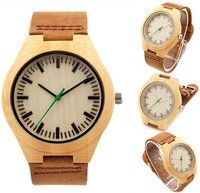 FASHION Natural Bamboo Wooden Watch Leather Strap Quartz Watches for Men Women