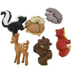 """Add character, interest and dimension to paper crafts, apparel, accessories and more with these single-loop Forest Babies Buttons. This creative button assortment is great for crafting, card-making, quilting, sewing, scrapbooking and so much more!    Size: 1 1/4""""    Package contains at least 5 buttons; quantity may vary slightly per package."""