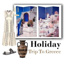 """Trip To Greece"" by brunettediary ❤ liked on Polyvore featuring Peter Pilotto, Ancient Greek Sandals, Greece and holiday"