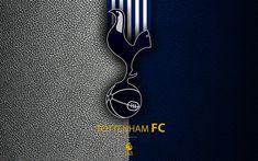Download wallpapers Tottenham Hotspur, FC, 4K, English football club, leather texture, Premier League, logo, emblem, Tottenham, London, England, United Kingdom, football