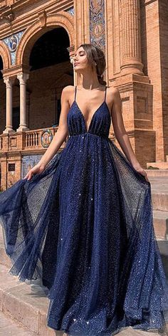 Buy Sexy A Line Spaghetti Straps Deep V Neck Dark Navy Sequins Backless Long Prom Dresses on sale.Shop prom or formal dresses from Promdress. Find all of the latest styles and brands in Junior's prom and formal dresses at SisaStore Straps Prom Dresses, Elegant Prom Dresses, Backless Prom Dresses, Tulle Prom Dress, Prom Dresses Blue, Prom Party Dresses, Occasion Dresses, Pretty Dresses, Evening Dresses