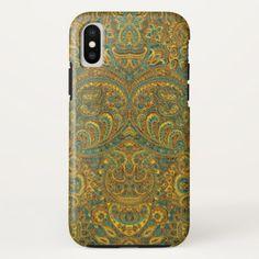Vintage Paisley Pattern Brown 7 Green Tones iPhone X Case