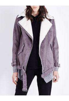 THE KOOPLES - Biker-style faux-shearling jacket | Selfridges.com