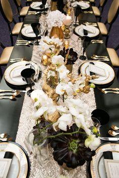 Opulent tablescape #black #gold #wedding