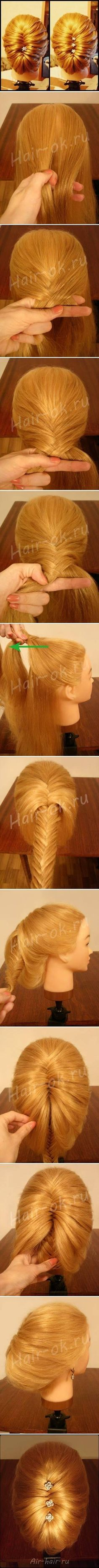 hair how to elegant fish braid updo Pretty Hairstyles, Girl Hairstyles, Braided Hairstyles, Hair Dos, Gorgeous Hair, Hair Designs, Prom Hair, Hair Hacks, Updos