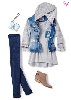 This jacket is the ultimate in comfy style. Throw it on over a soft tee and leggings for an outfit that looks as good as it feels! Girls Fashion Clothes, Tween Fashion, Little Girl Fashion, Fashion Outfits, Kids Clothing, Cute Girl Outfits, Kids Outfits Girls, Tween Girls, Justice Clothing