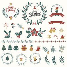 adventsverkauf Set of christmas design elements vector Free Vector Christmas Tree Design, Dollar Tree Christmas, Ribbon On Christmas Tree, Christmas Svg, Christmas Decorations, Christmas Ornaments, Hygge Christmas, Christmas Background, Christmas Images