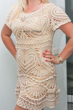 """Купить Платье крючком """"Натали"""" - кремовый, платье коктейльное, крючок, ажурное платье крючком Diy Dress, Blouse Dress, Dress Skirt, Crochet Blouse, Knit Crochet, Crochet Wedding Dresses, Crochet Dresses, Vestidos Fashion, Freeform Crochet"""