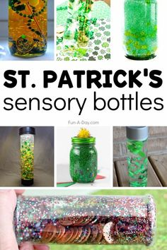 St. Patrick's Day sensory bottles that are fun and full of learning! DIY sensory bottles are wonderful for teaching descriptive language, fine motor skills, measurement, counting, color and shape identification, and sensory exploration. Rainbow Sensory Bottles, Glitter Sensory Bottles, Glitter Jars, Green Glitter, Early Learning Activities, Sensory Activities, Kids Learning, Calm Down Jar, Rainbow Rice