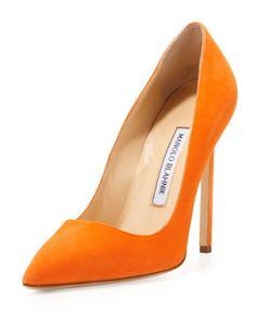 Manolo Blahnik BB Suede 115mm Pump, Orange (Made to Order) - Neiman Marcus