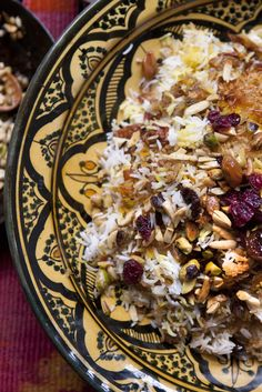 NYT Cooking: This dish is called jeweled rice because it is golden and glistening, laced with butter and spices and piled with nuts and gem-colored fruits. In Iran, it is typically served at weddings or other celebrations. Great platters of it appear at banquets. It also goes beautifully with a weeknight roast chicken.<br/><br/>You will probably need to do a little shopping to make thi...