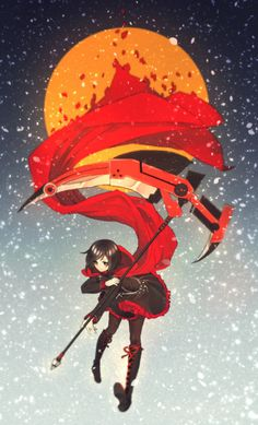 """RWBY collection! """"RWBY is a 3D web animation series created by Rooster Teeth Productions. The RWBY team includes protagonist and leader Ruby Rose, a young enterprise woman named Weiss Schnee, mysterious long black-haired Blake Belladonna, and Ruby's step-sister Yang Xiao Long. Stylish and action-packed, full of weapons, it's a series all about going through the tough times and making it out better. Their names and the colors they are associated with—Red, White, Black, Yellow—"""