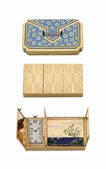 Comprising two vanity cases, the first designed as a rectangular shaped 18k gold vanity case of blue enamel flower motif, with rose-cut diamond and onyx detail, opening to reveal a fitted mirror, hidden compartment and lipstick case, circa 1925, 2 7/8 x 1 3/4 ins.; the second designed as a rectangular shaped ribbed 18k gold vanity case, opening to reveal a watch, with mechanical jeweled movement signed Jaquet, Genève, two fitted mirrors, a multi-colored enamel nature scene and a powder…