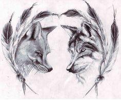 Wolf and fox tattoo.