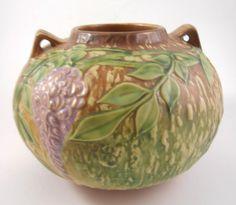"Roseville Wisteria 637 6.5"" Vintage Art Pottery Handled Vase 1930's #Roseville"
