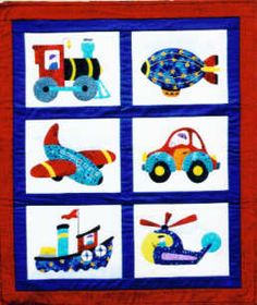 kids quilt patterns | Boys Toys Applique quilt pattern for children by Holiday Designs