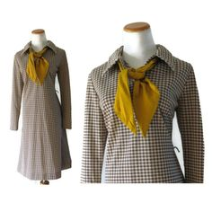 Houndstooth Dress / 60s Houndstooth Dress / Mod by GoodLuxeVintage