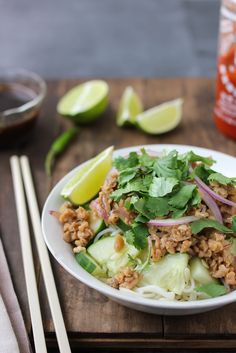 A traditionally pork heavy Thai dish is turned vegan. This Vegan Thai Larb Noodle Salad is full of spicy, tangy-lime and briny flavors that are traditional to Thai dishes.