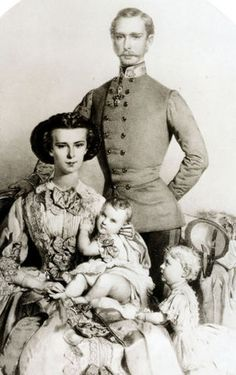 Young Franz Joseph, Sisi, and family
