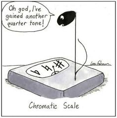 music, music theory, chromatic scale, quarter tone, music humour, music humor