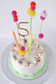 Pom Pom Birthday Cake topper