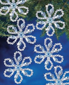 Beadery Holiday Ornament Kit Christmas Flower Makes 12 Ornaments Diy Christmas Snowflakes, Beaded Christmas Decorations, Snowflake Decorations, Flower Ornaments, Christmas Flowers, Beaded Ornaments, Holiday Ornaments, Christmas Crafts, Diy Ornaments
