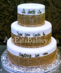 Three tier white wedding cake with brown writing and burlap ribbons Wedding Cake Pearls, Elegant Wedding Cakes, Wedding Cake Designs, Lace Wedding, Wedding Ideas, Diva Cakes, Video Game Cakes, Camping Cakes, 60 Wedding Anniversary