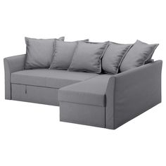 HOLMSUND Cover for corner sofa-bed, Nordvalla medium grey. You can place the chaise longue section to the left or right of the sofa, and switch whenever you like. Storage space under the chaise longue.