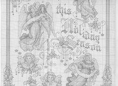 Christmas Angels Blessing - 4/8 Solo Patrones Punto Cruz (pág. 964) | Aprender manualidades es facilisimo.com Cross Stitch Angels, Cross Stitch Charts, Cross Stitch Patterns, Religious Cross, Christmas Cross, Cross Stitching, Fiber Art, Vintage World Maps, Banner