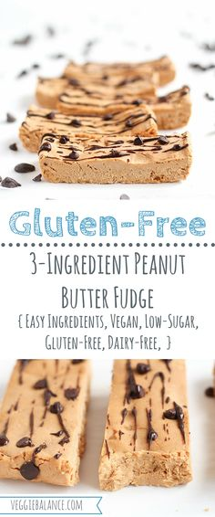Vegan Peanut Butter Fudge recipe made with easy ingredients. Naturally Gluten-free, Dairy-free and Healthy! It's the perfect easy sweet treat. Gluten Free Treats, No Bake Treats, Gluten Free Desserts, Dairy Free Recipes, Healthy Desserts, Healthy Bars, Lchf, Keto, Peanut Butter Fudge